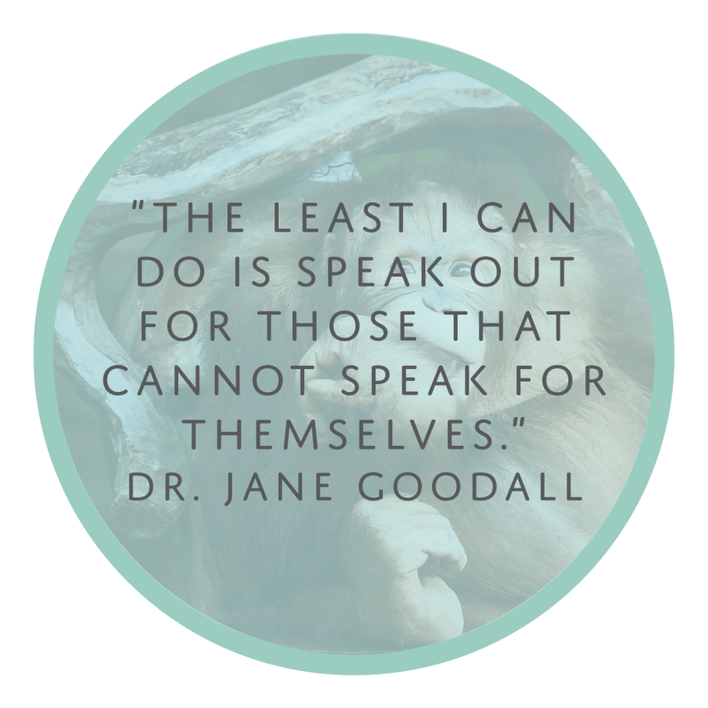 Jane Goodall quote human animal bond speak out