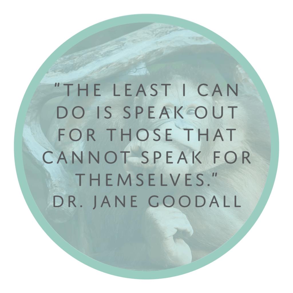Jane Goodall quote human animal bond speak out