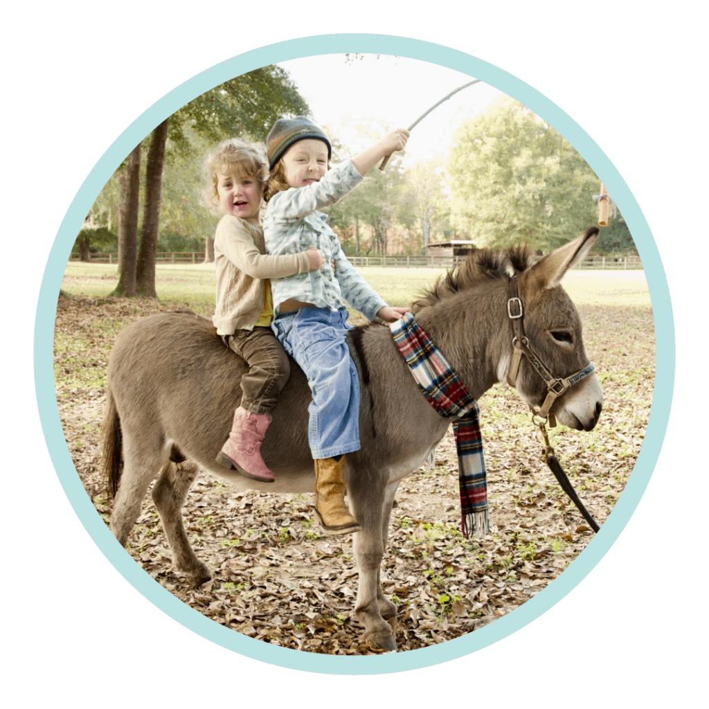 two human girls on donkey training carrot stick