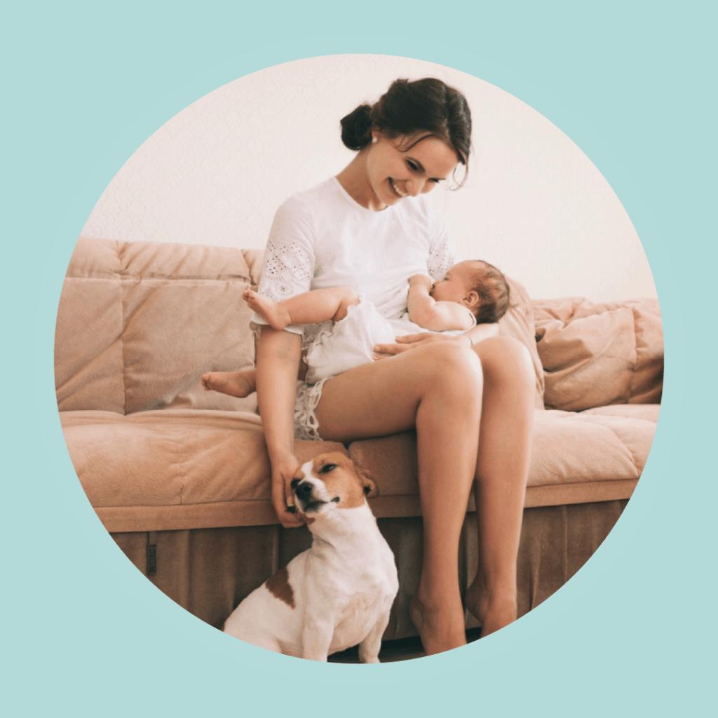 parent baby dog petting